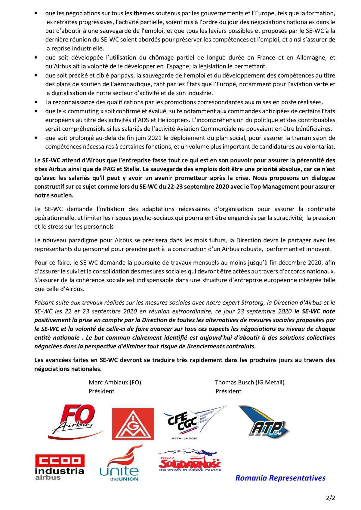 Déclaration du SE-WC des 22 et 23 Septembre 2020 concernant l'information / consultation du projet ODYSSEY