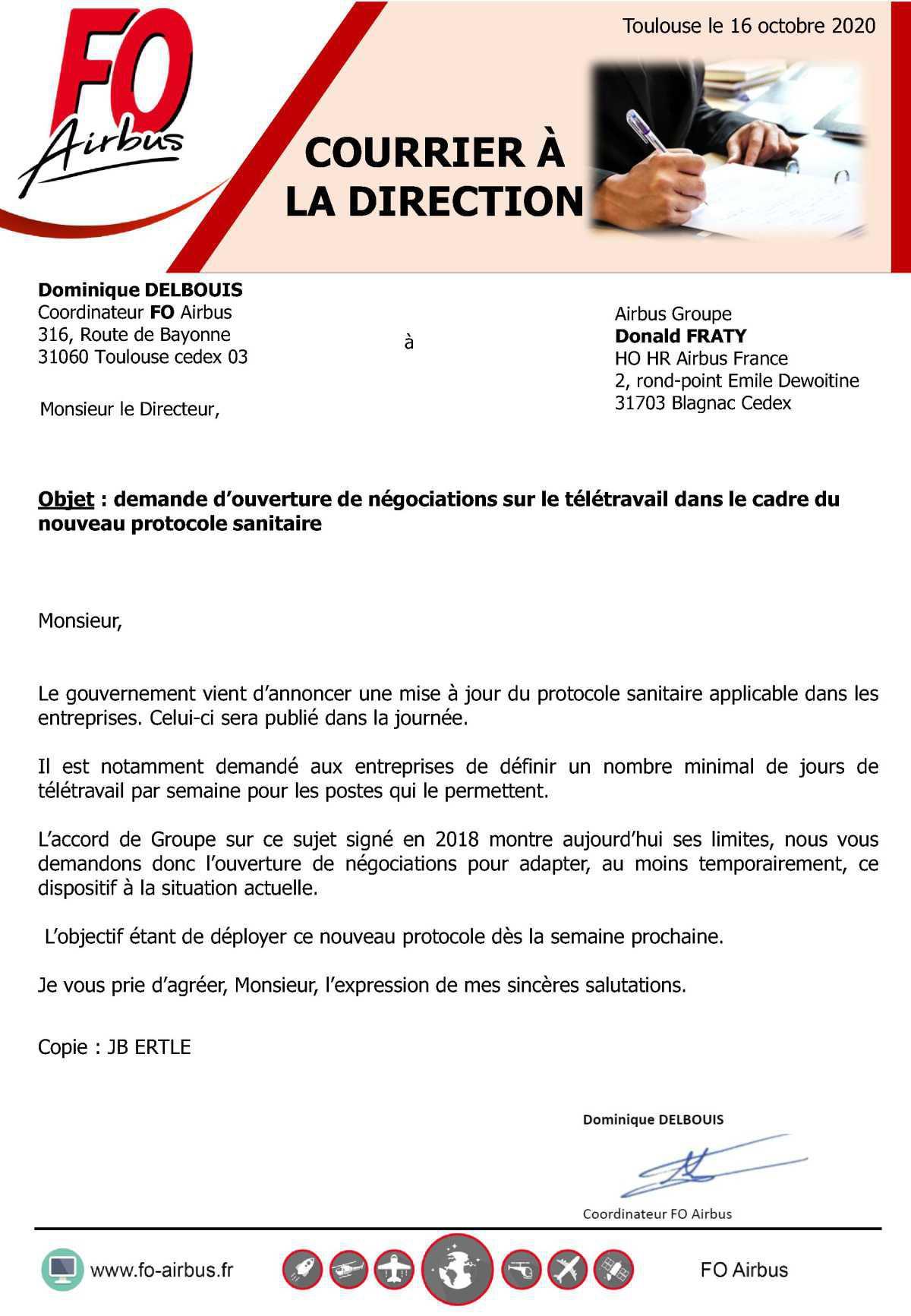 Nouveau protocole sanitaire et télétravail, courrier à la Direction