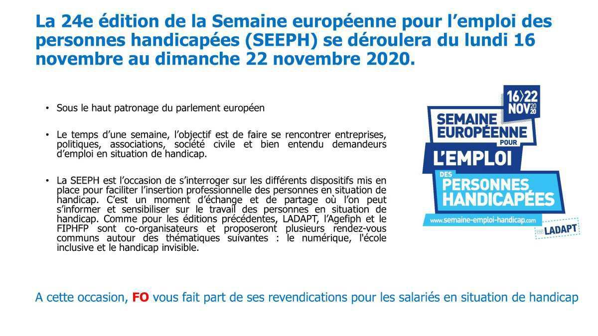 24e édition de la semaine européenne pour l'emploi des personnes handicapées (SEEPH)