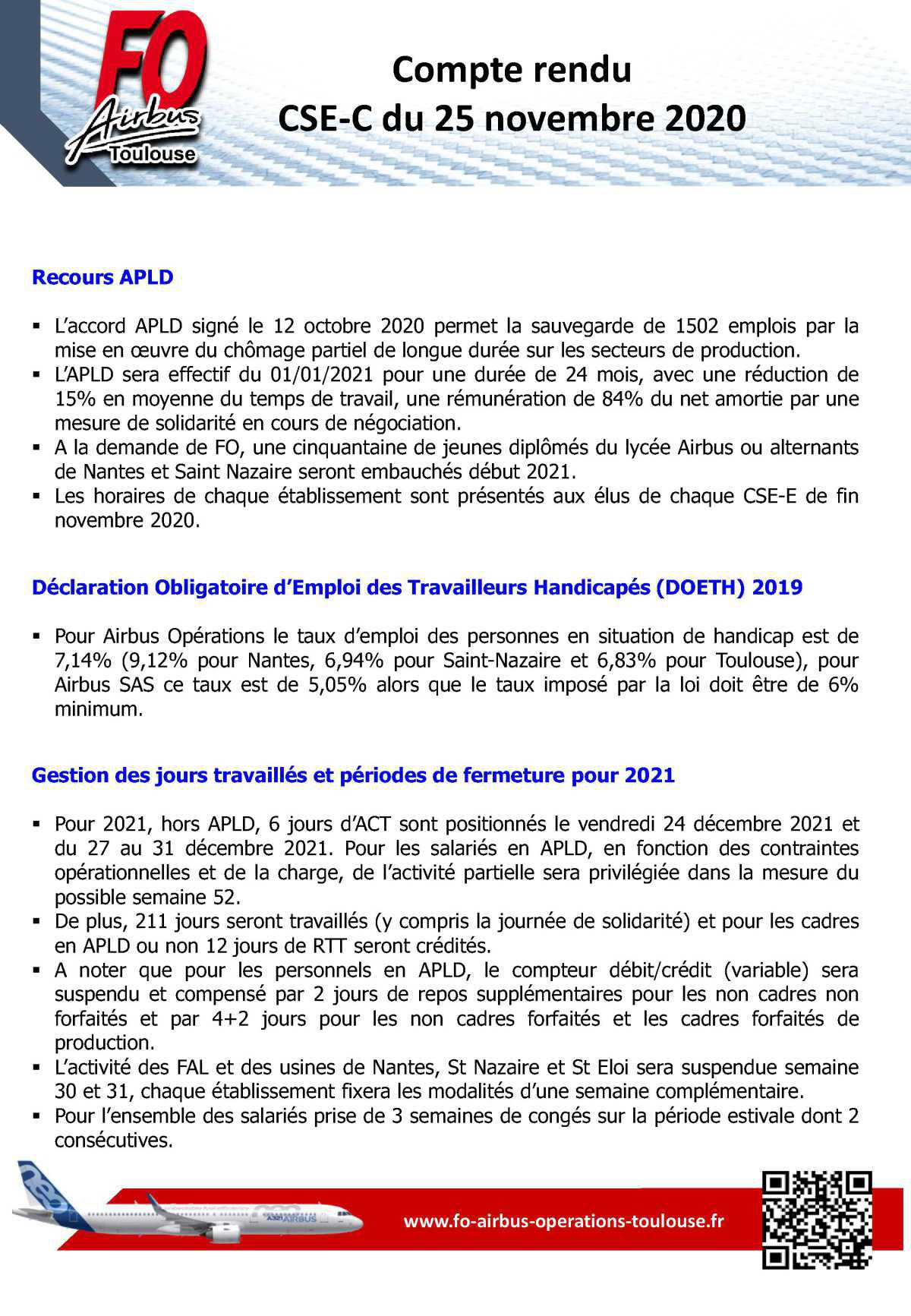 Compte rendu du CSE-C du 25 novembre 2020