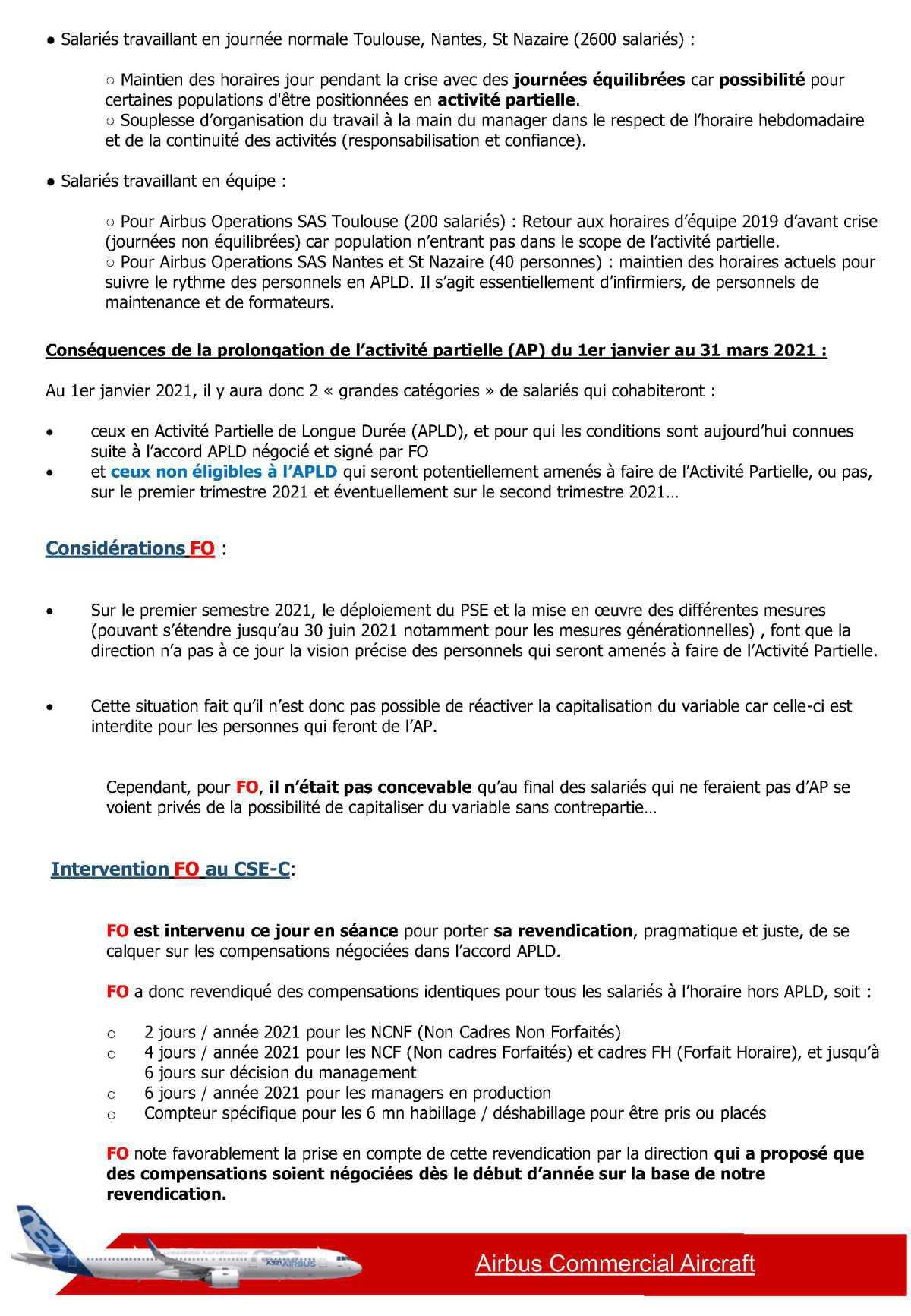 CSE-C du 17 Décembre 2020 - Organisation du travail hors APLD