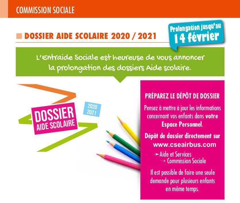Aide scolaire 2020 / 2021, prolongation jusqu'au 14 février