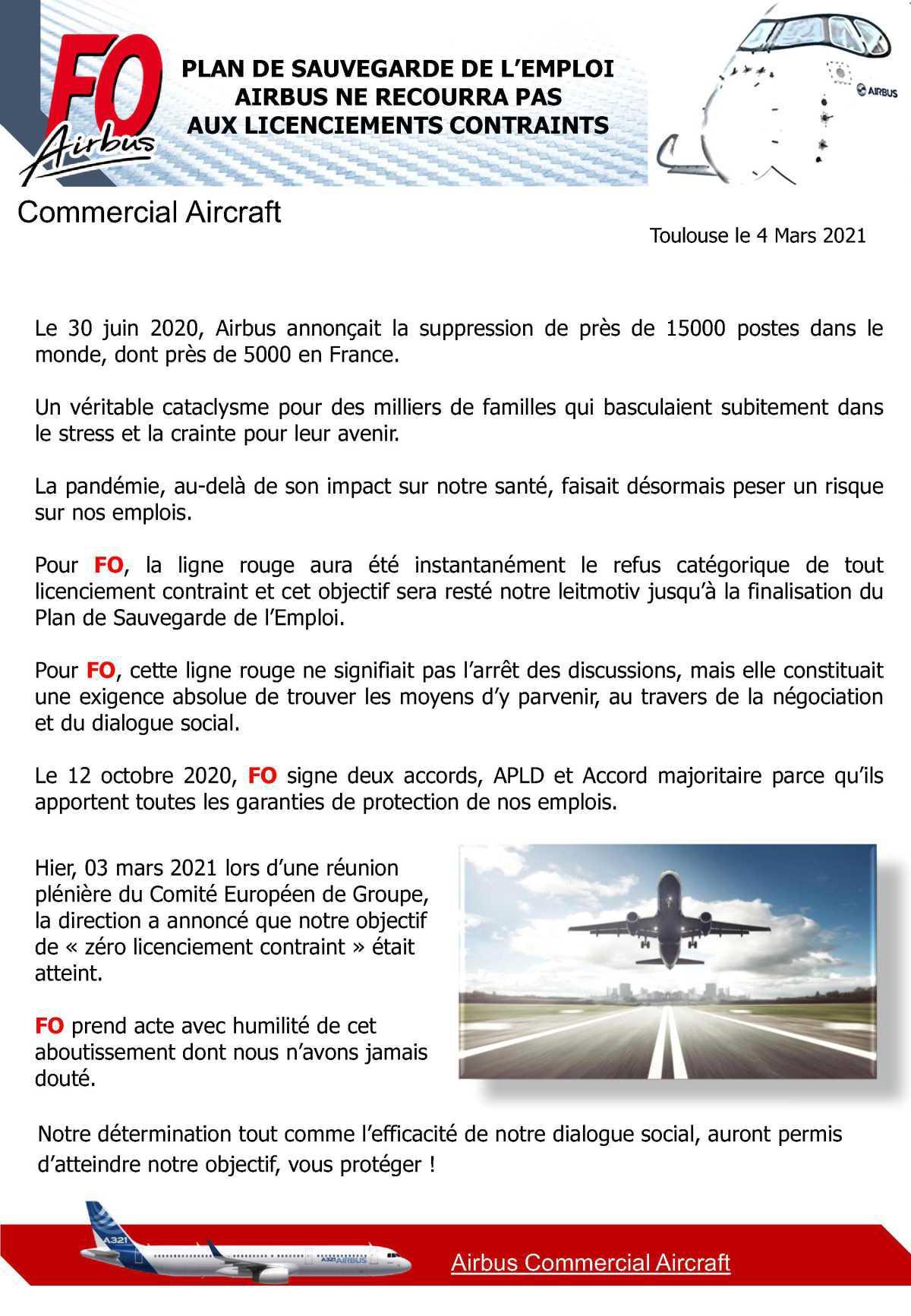 Plan de sauvegarde de l'emploi, AIRBUS ne recourra pas aux licenciements contraints