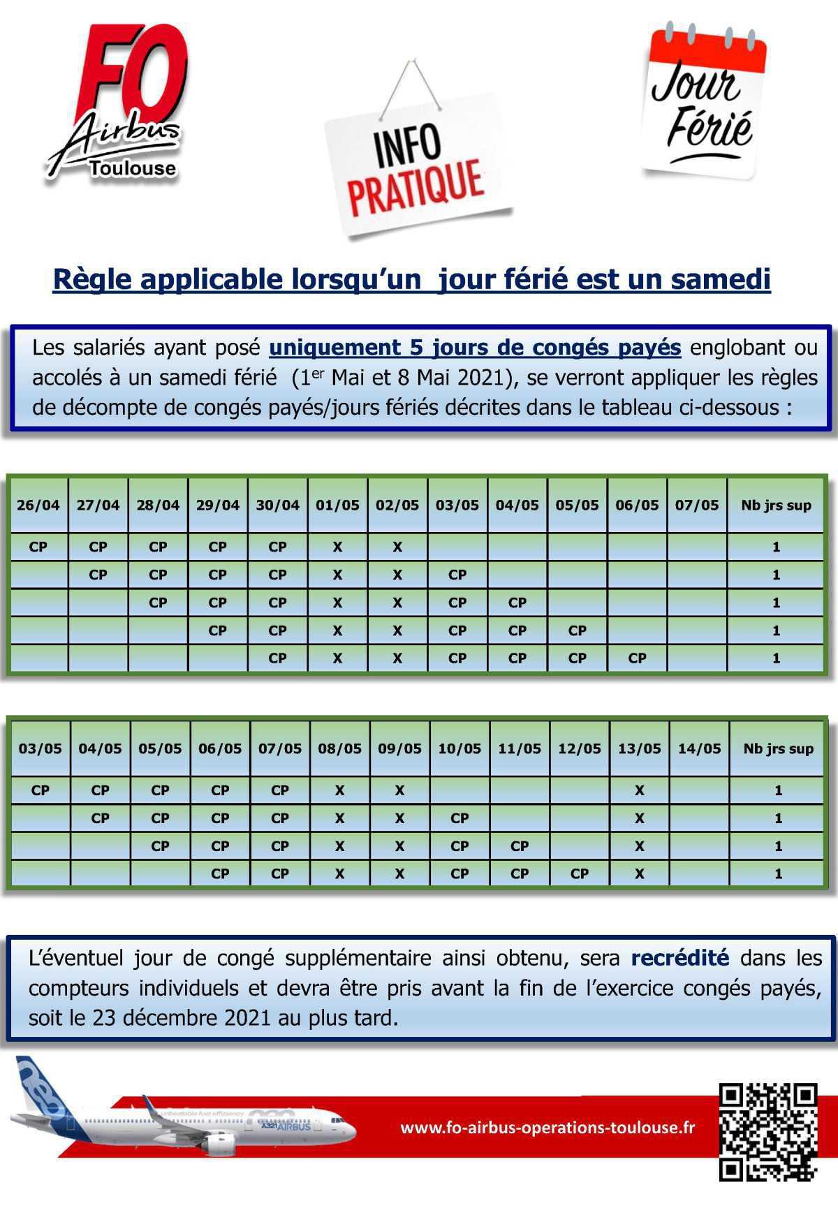 Info Pratique: Règle applicable lorsqu'un jour férié est un samedi (1er Mai et 8 Mai 2021)