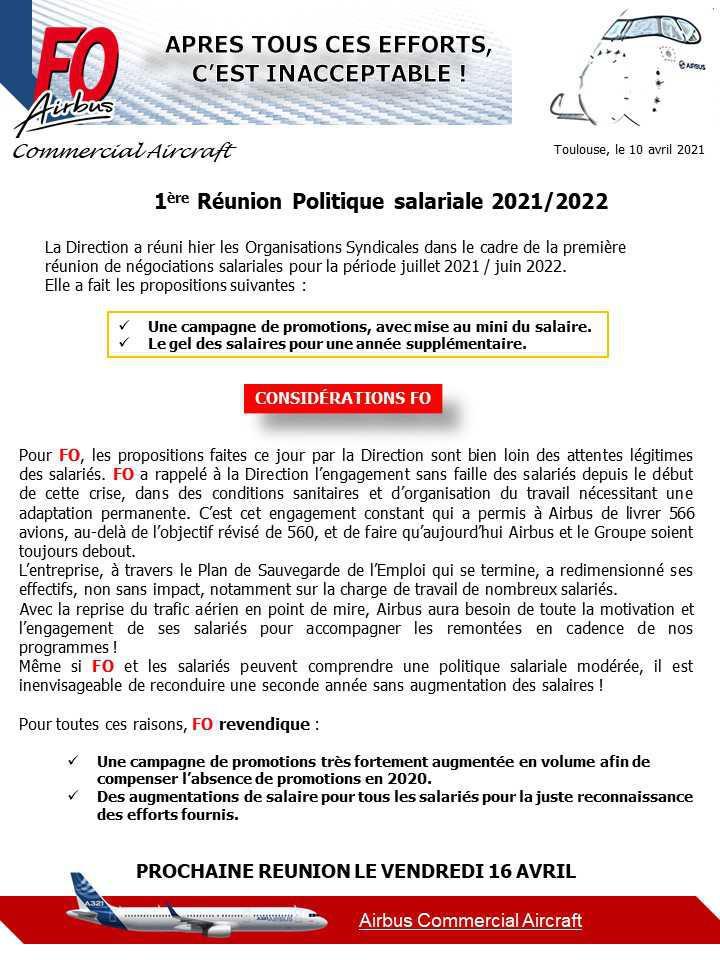 1ère réunion de politique salariale 2021/2022