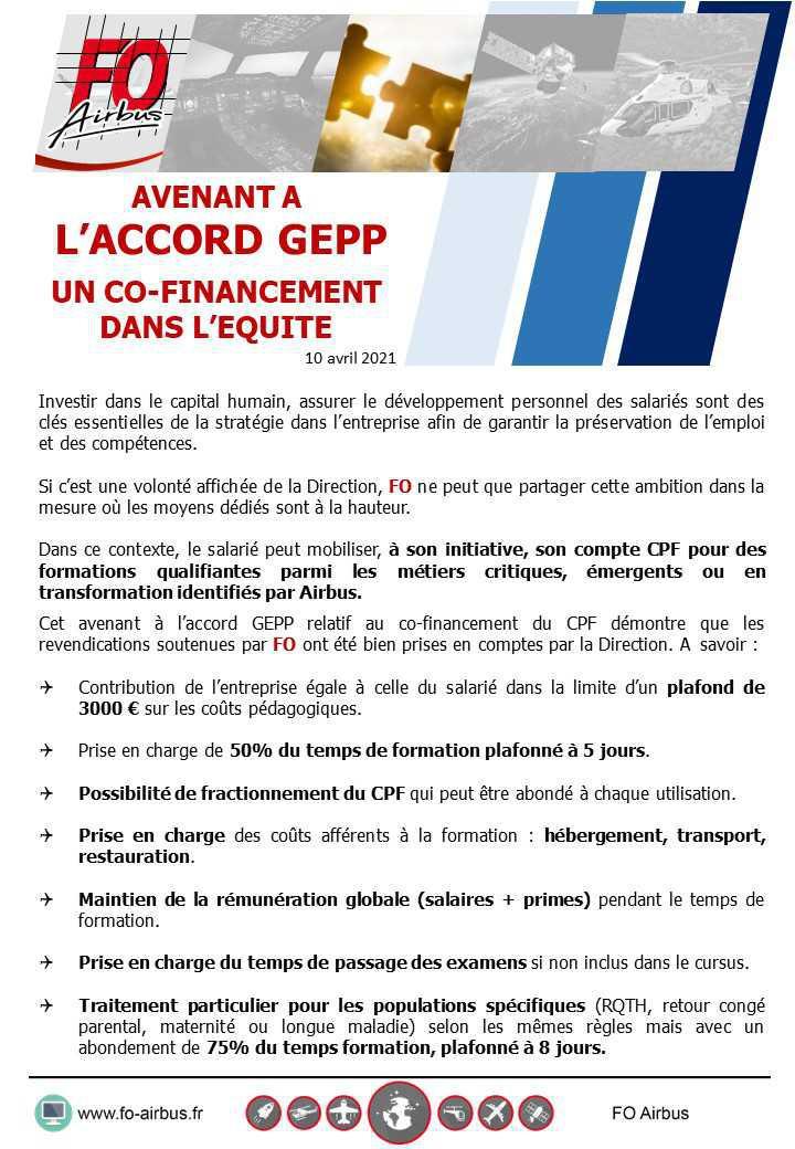 Avenant à l'accord GEPP, FO apposera sa signature