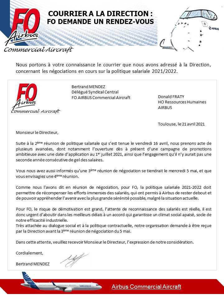 Courrier à la Direction politique salariale 2021/2022: FO demande un rendez vous