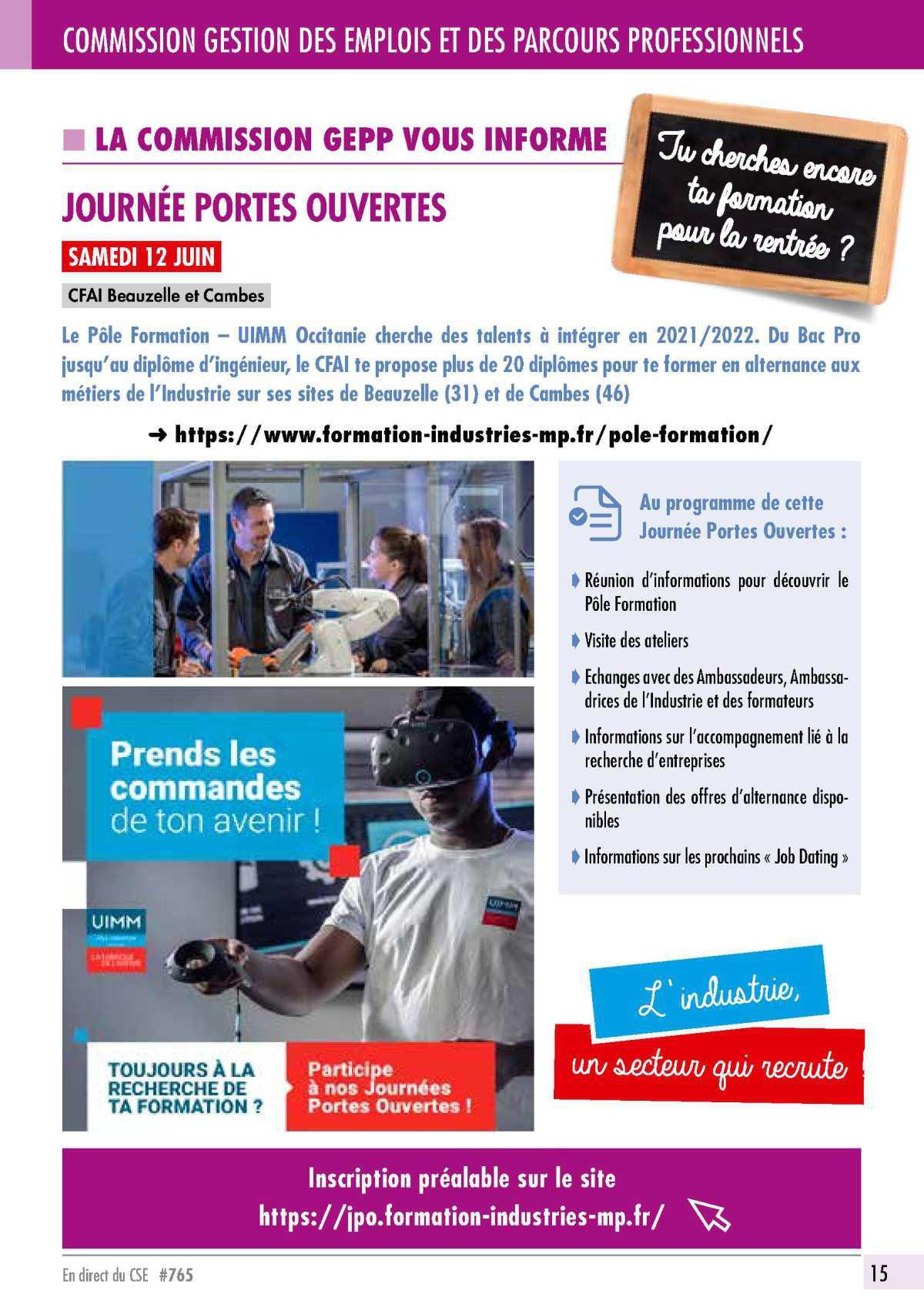 Journée Porte Ouverte CFAI de Beauzelle le 12 juin