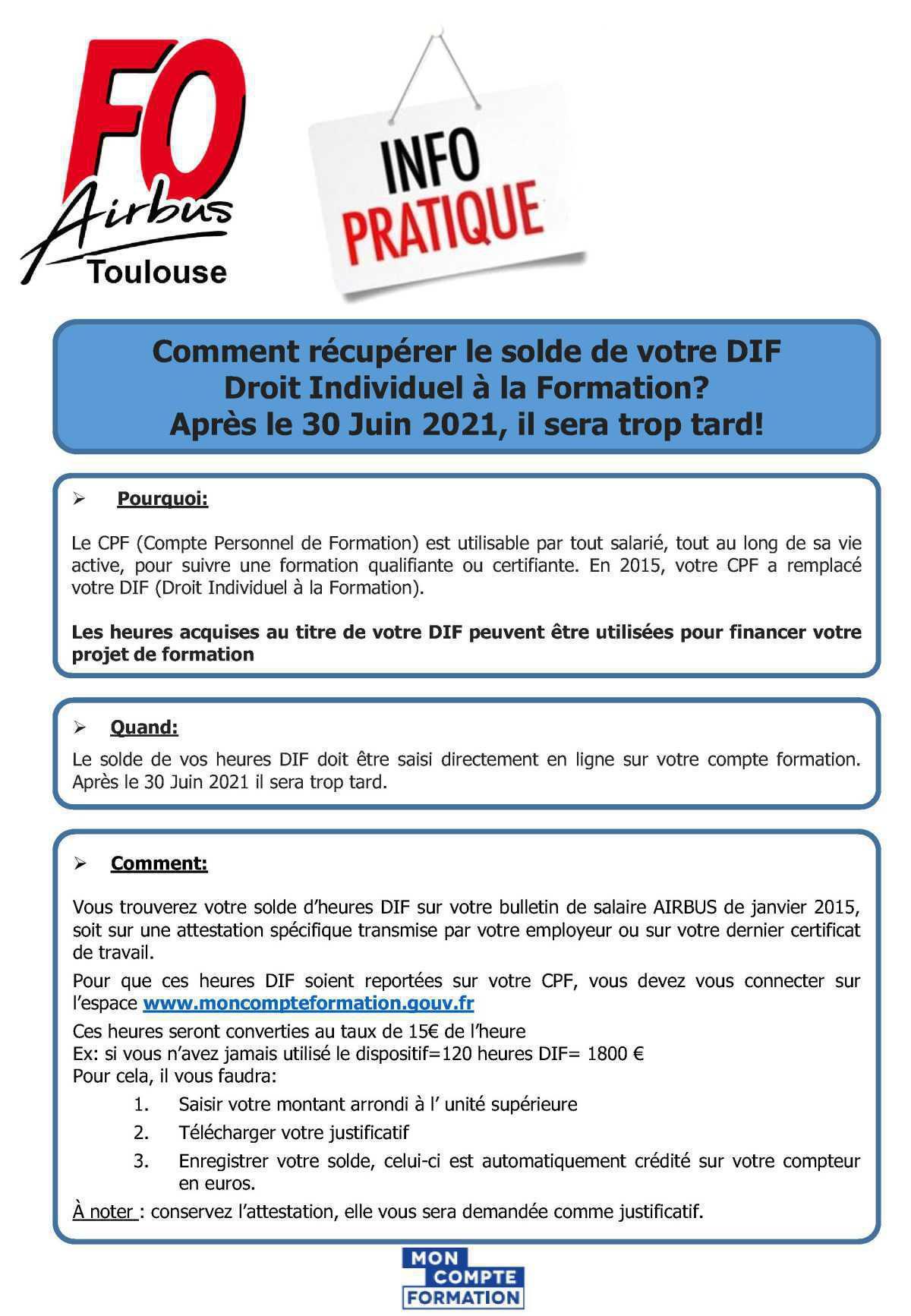 Comment récupérer le solde de votre DIF (Droit individuel à la Formation)? Après le 30 Juin 2021, il sera trop tard!