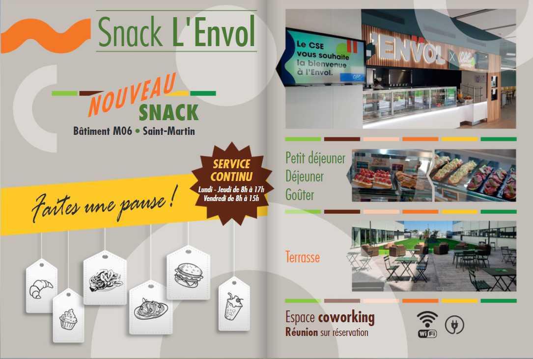 """Restauration: Un nouveau Snack """" L'ENVOL """""""
