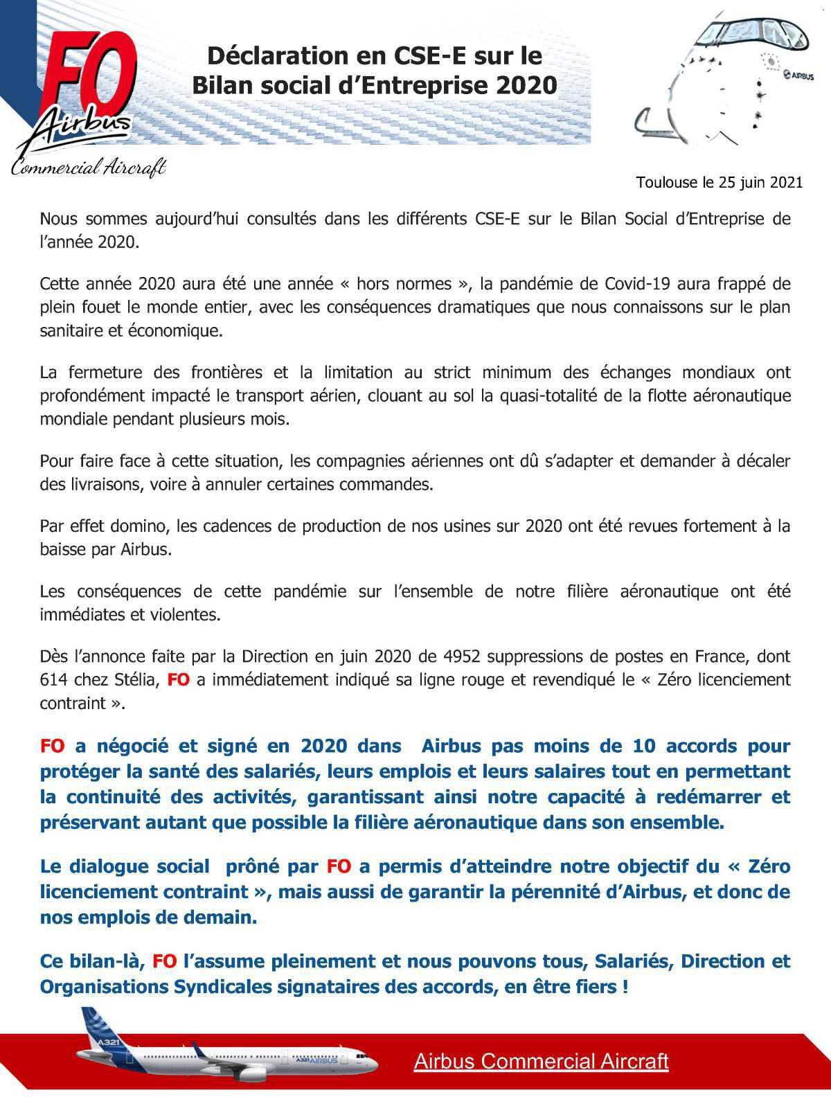 Déclaration en CSE-E du Bilan Social d'Entreprise 2020
