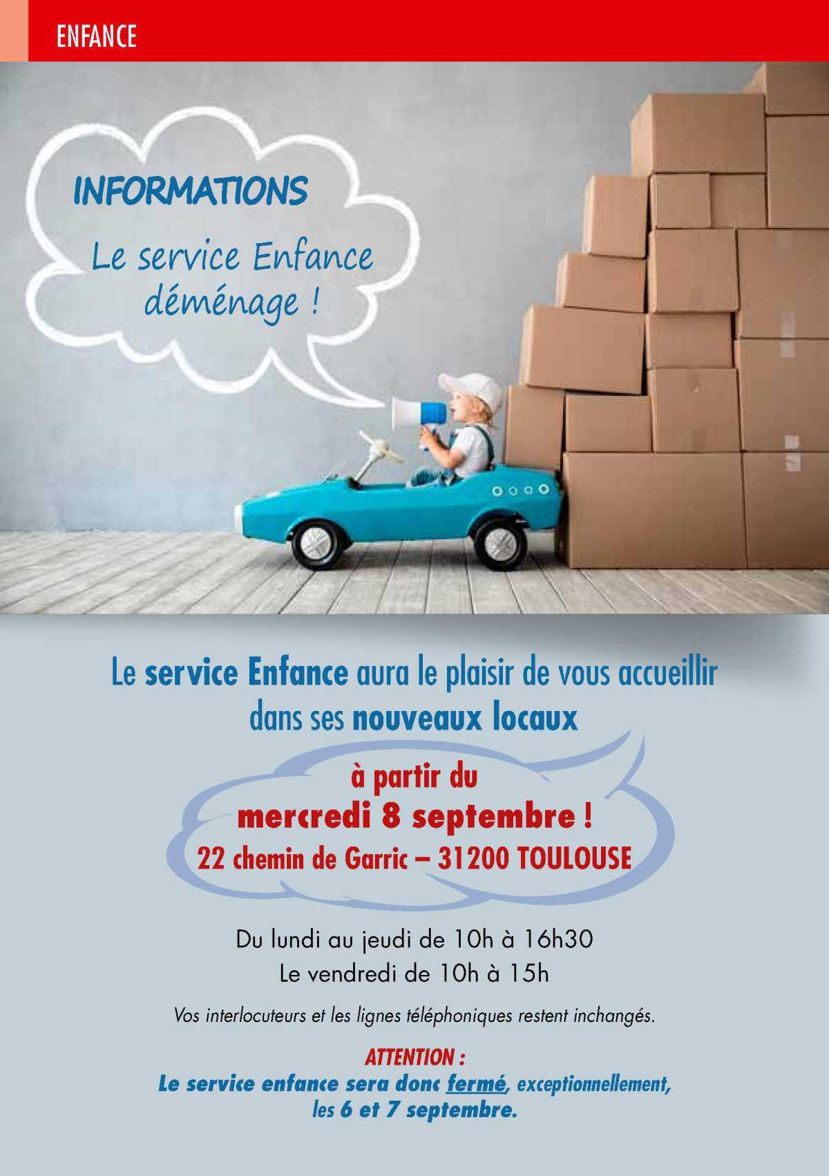 Info CSE: Le service Enfance déménage