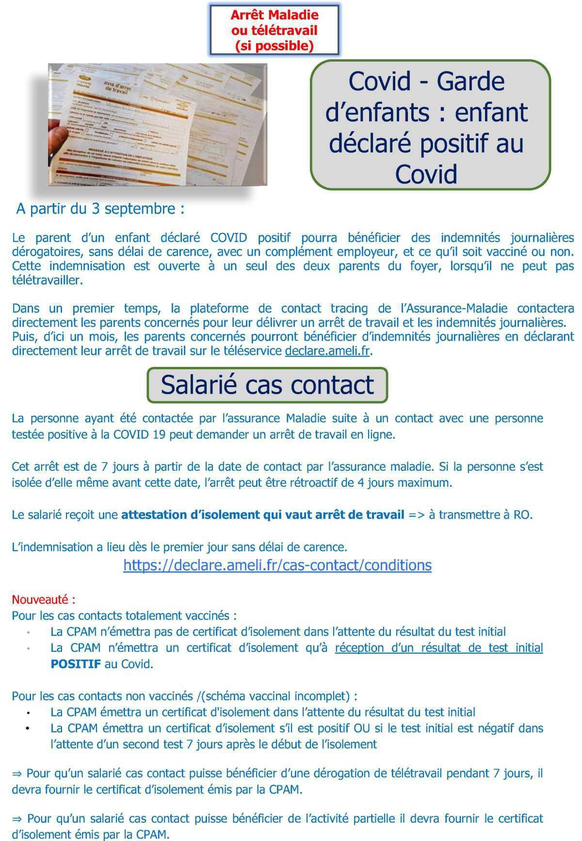 Info Pratique : Les différents arrêts de travail COVID