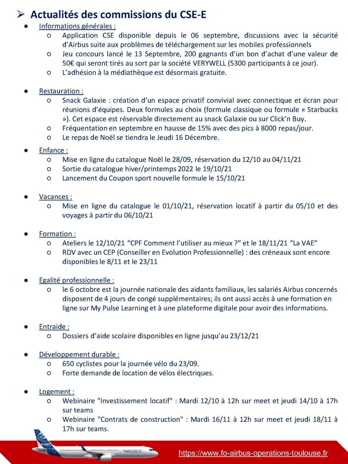 Compte rendu du CSE-C et CSE-E du 30 septembre 2021