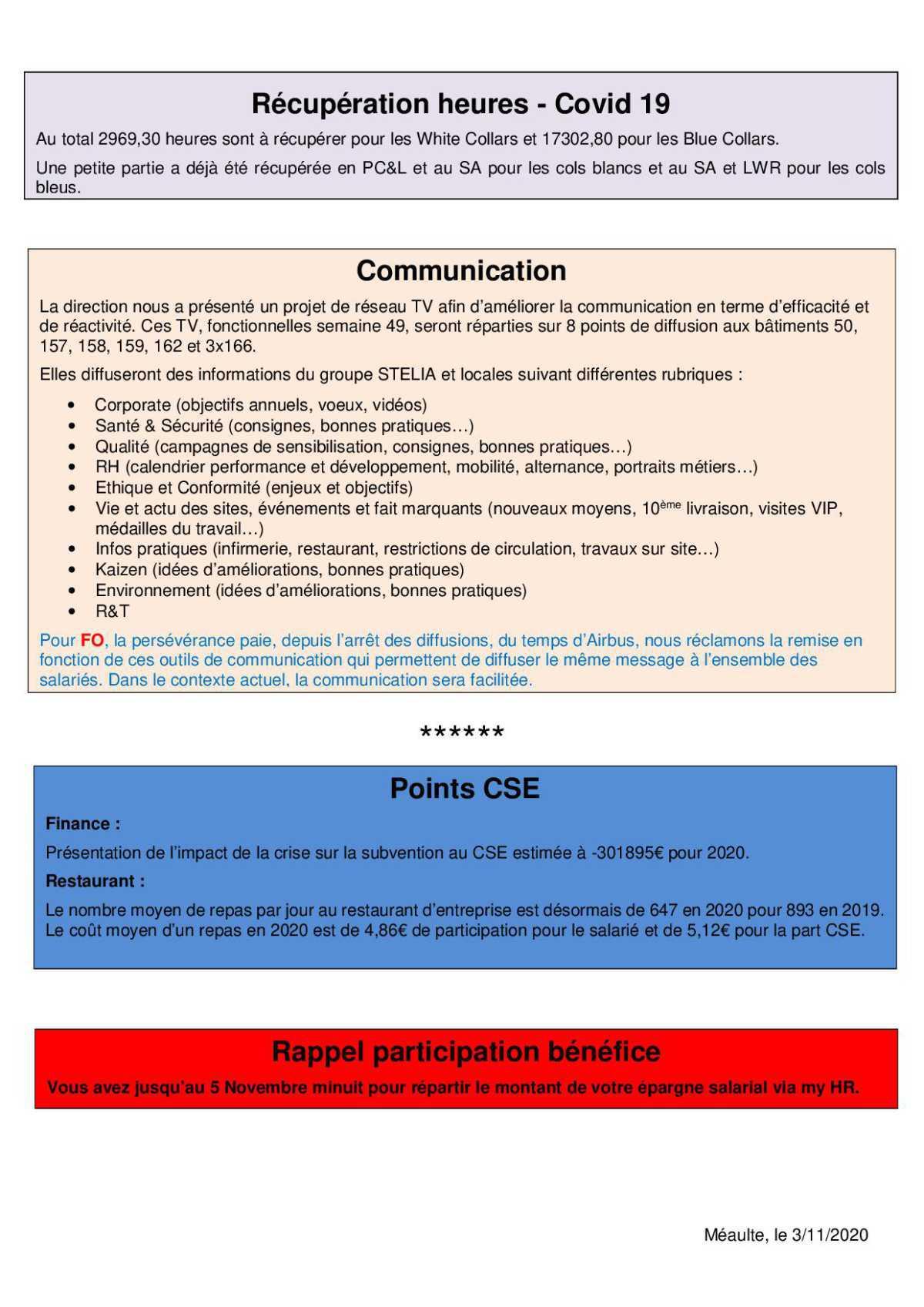 Compte rendu succinct du CSE-E du 28 octobre 2020