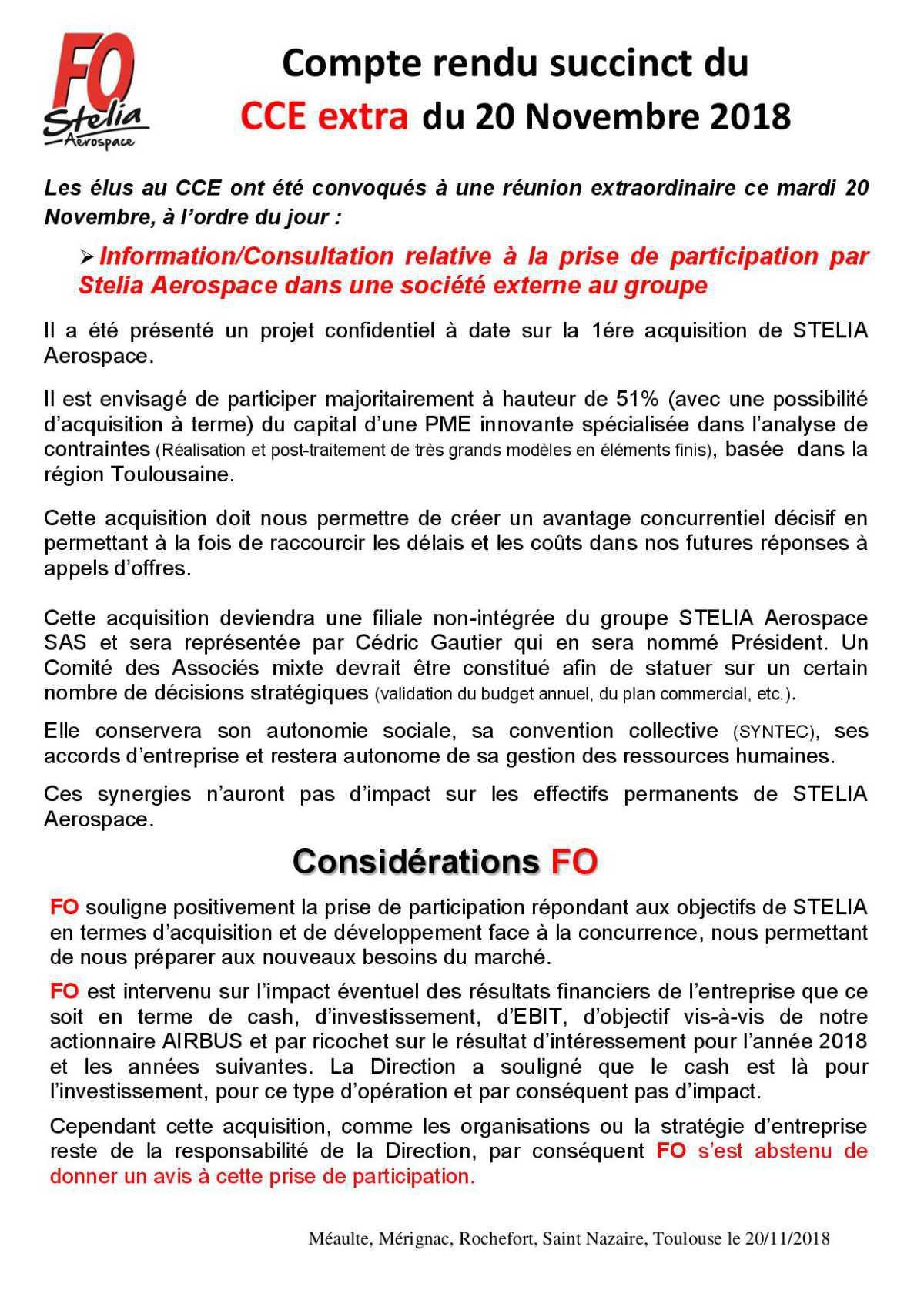 CR succinct du CCE extra du 20/11/2018
