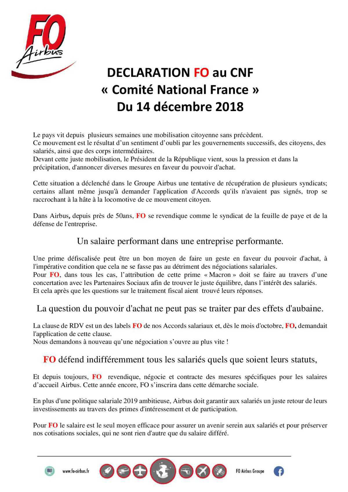 Déclaration FO au CNF