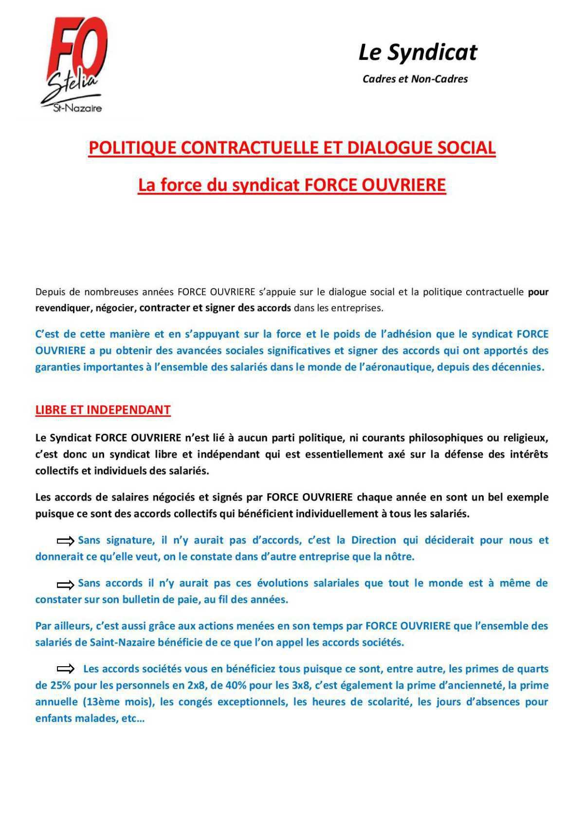 POLITIQUE CONTRACTUELLE ET DIALOGUE SOCIAL