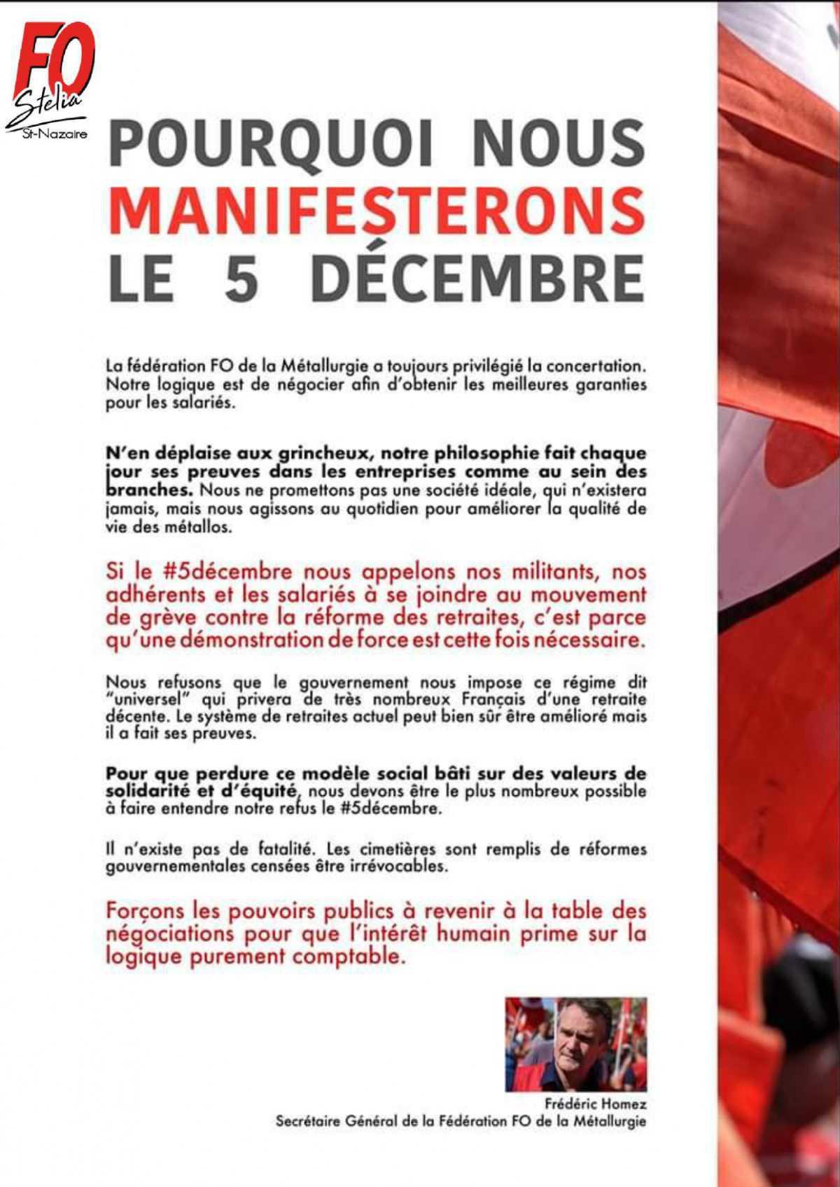 Tract manifestation du 05 décembre