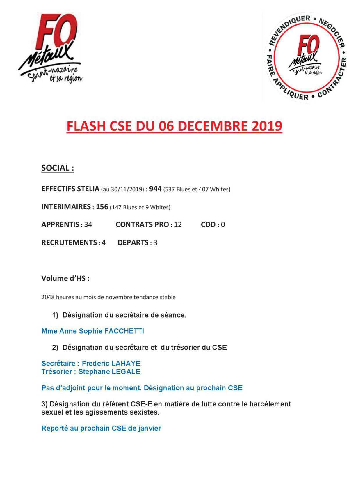 FLASH CSE DU 06 DECEMBRE