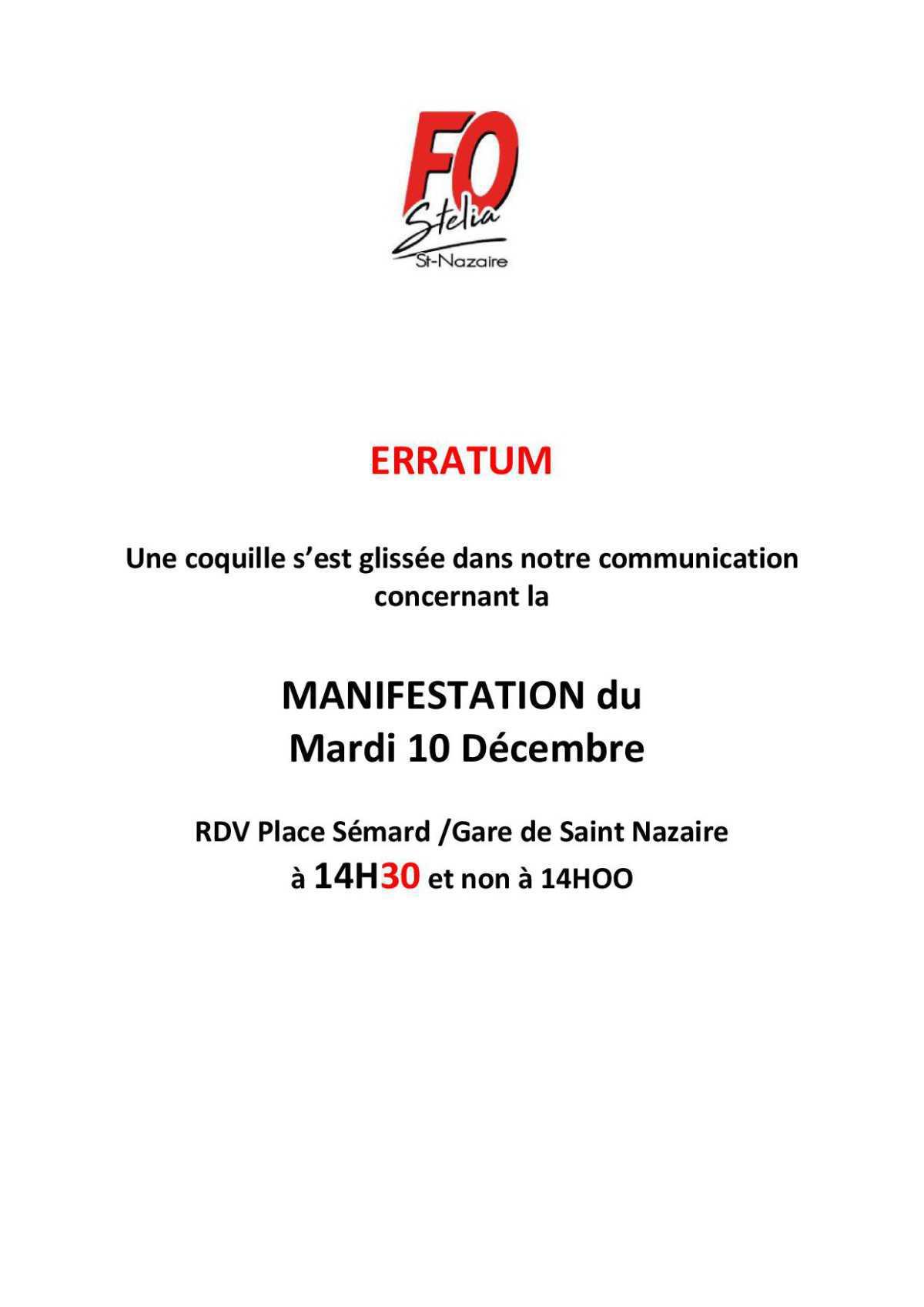 Erratum - manifestation du 10 decembre