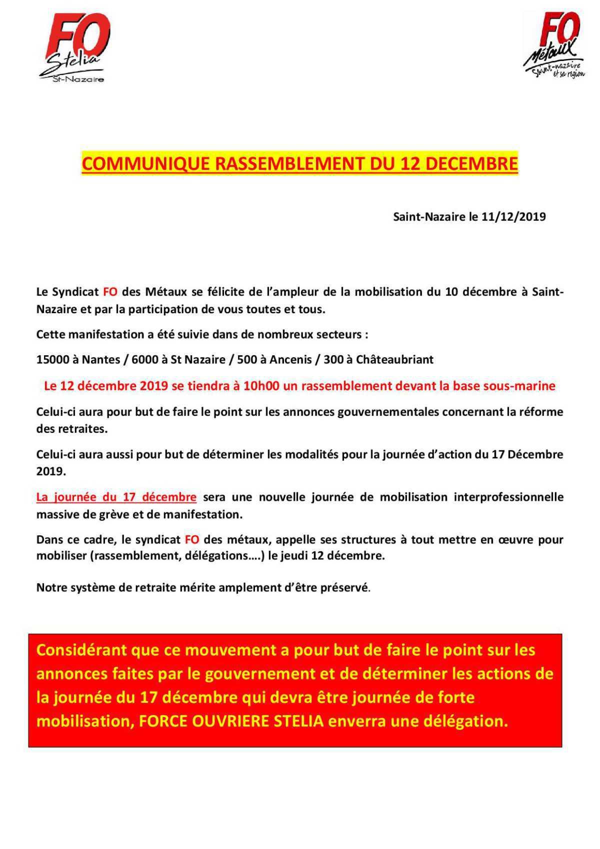 Rassemblement du 12 Décembre à St Nazaire