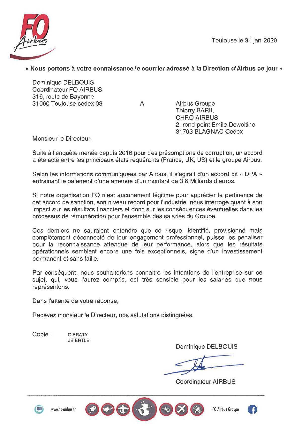 courrier adressé à M.BARIL au sujet de l'amende payée par AIRBUS