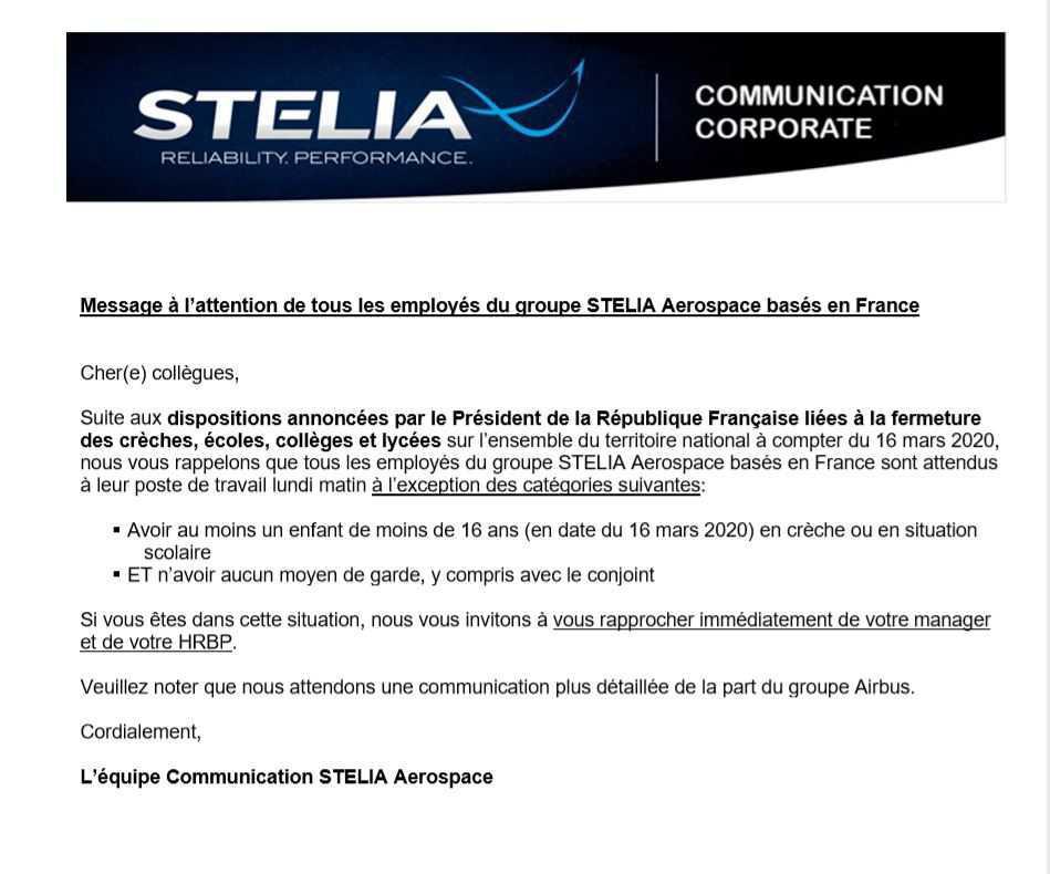 Communiqué STELIA Covid-19