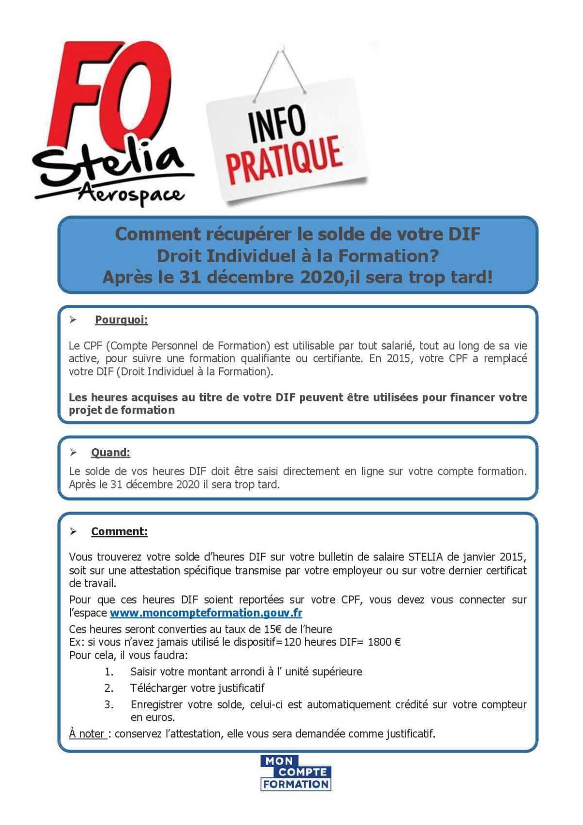 COMPTE PERSONNEL DE FORMATION