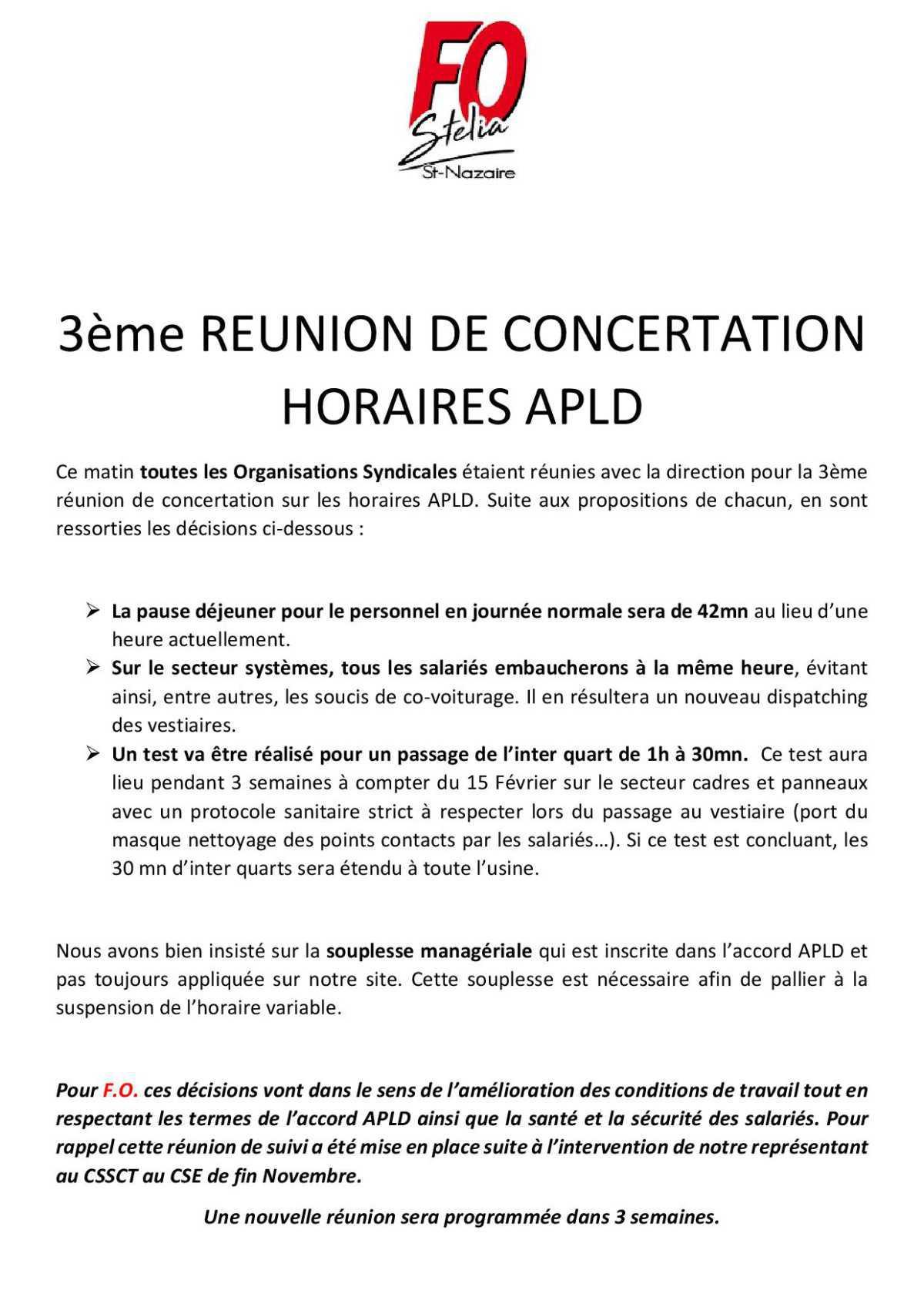 REUNION DE CONCERTATION HORAIRES APLD