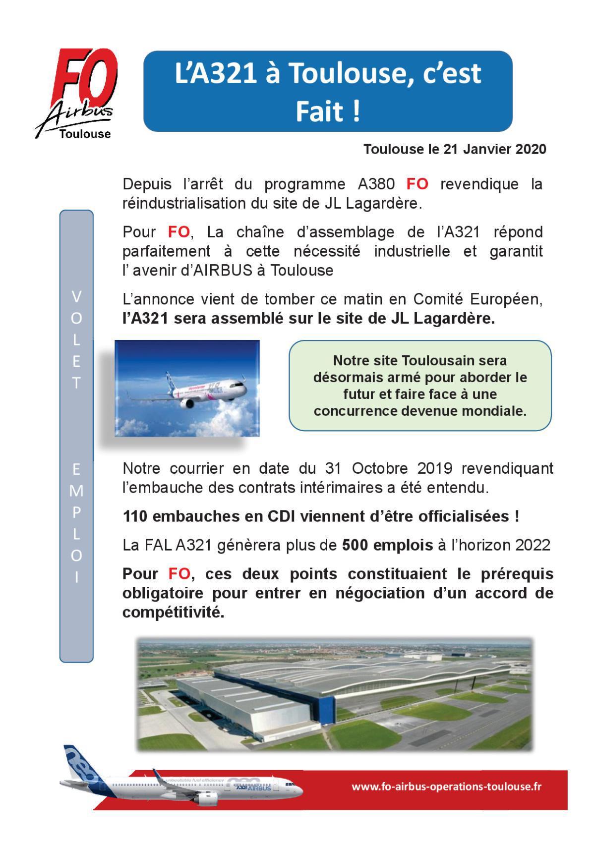 A321 XLR Volet Emploi 2020 AIRBUS Toulouse