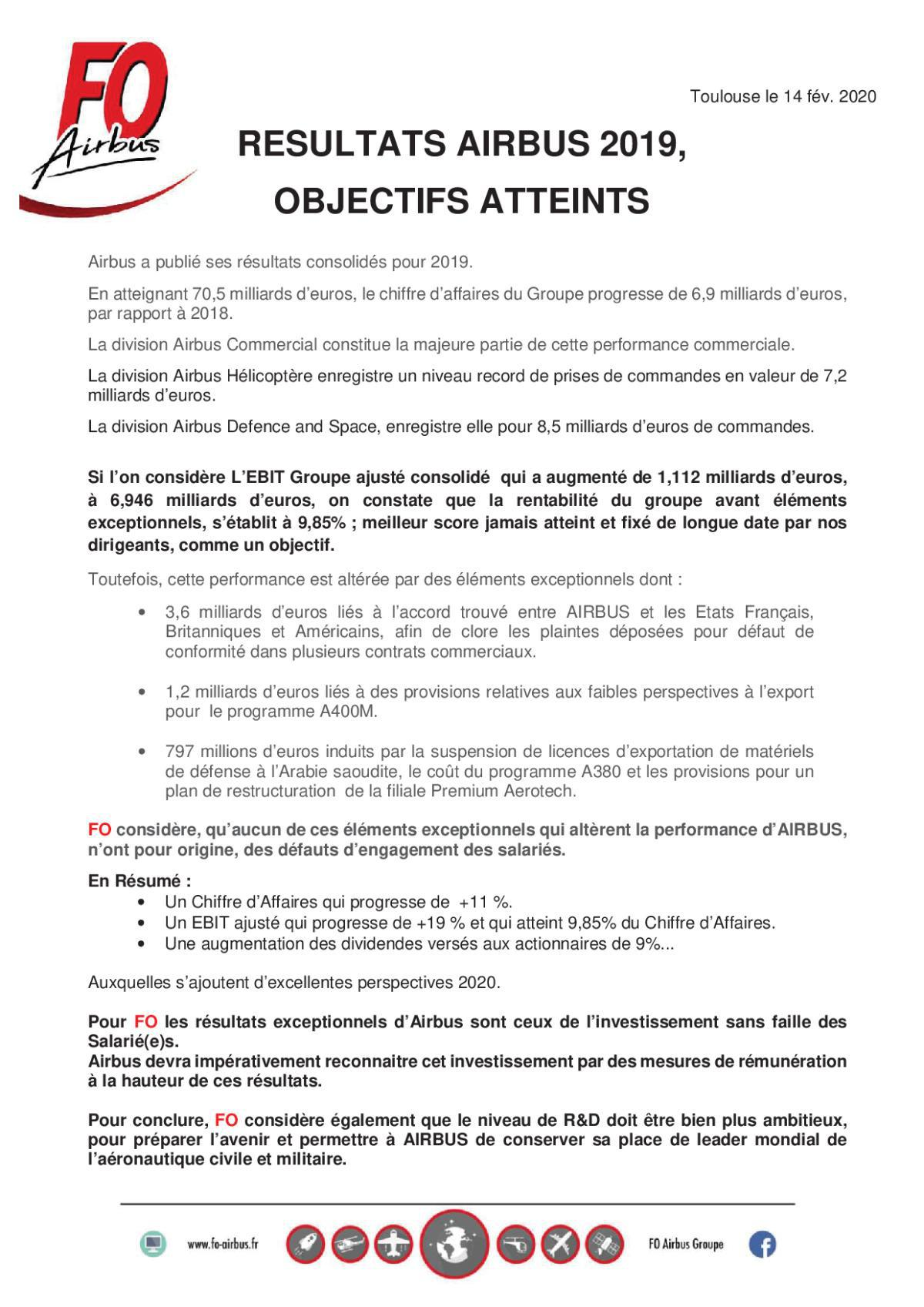 Tract Groupe Résultats AIRBUS 2019