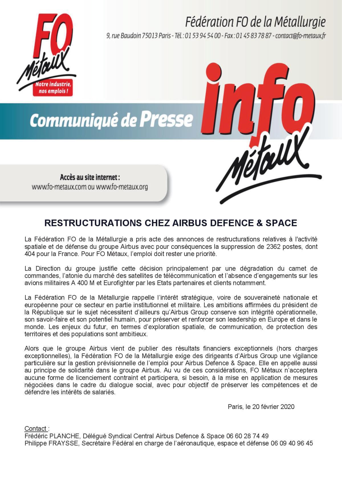FO METAUX COMMUNIQUE DE PRESSE AIRBUS GROUP
