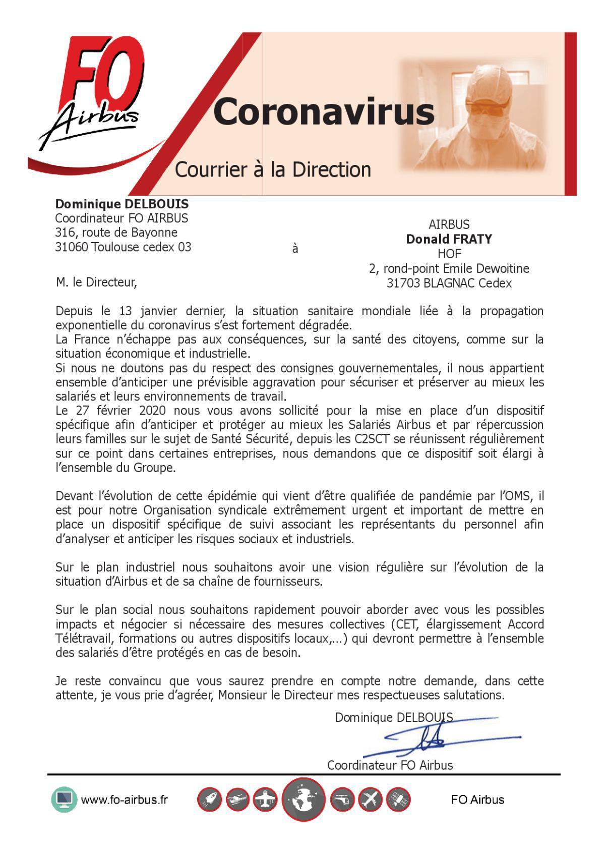 Coronavirus - Courrier à la Direction