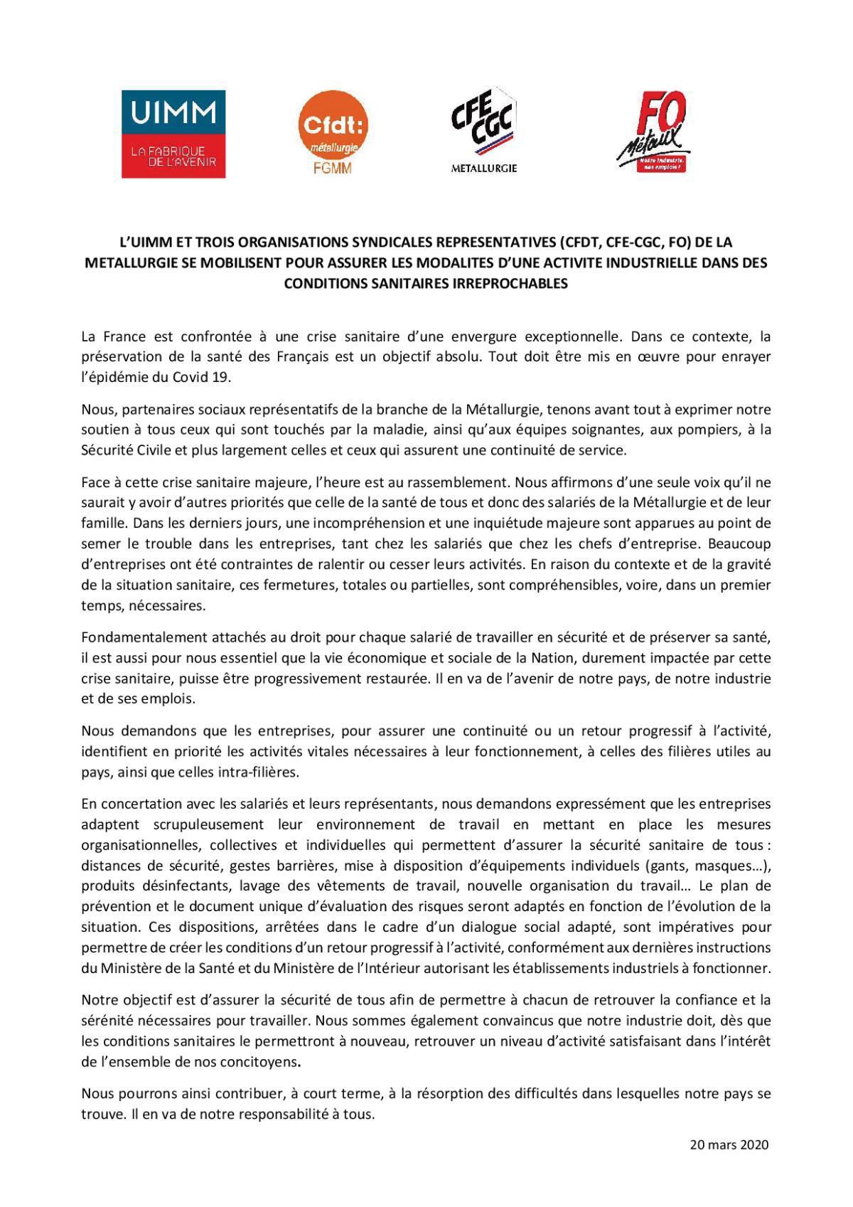 COVID-19 - L'UIMM et 3 Organisations Syndicales représentatives (CFDT, CFE-CGC et FO) de la métallurgie se mobilisent.....