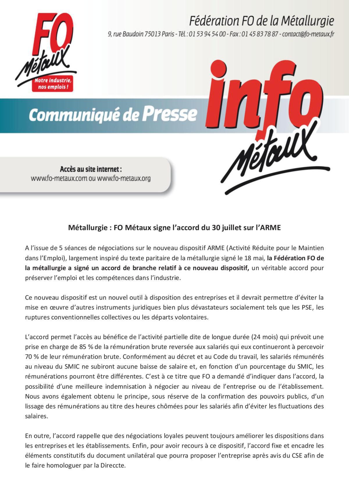 Communiqué de presse : FO Métaux « ARME (APLD) »