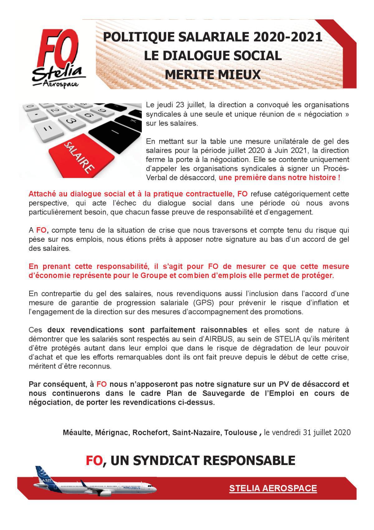 Politique Salariale 2020-2021 – Le Dialogue Social mérite mieux !