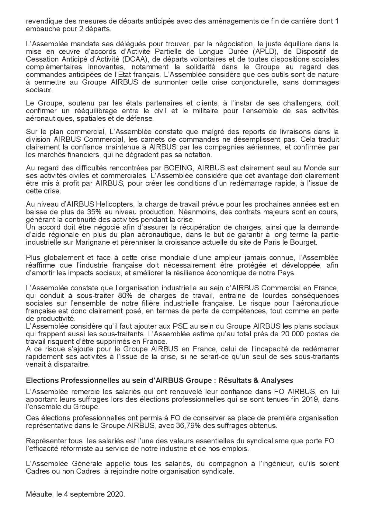 Motion - Assemblée Générale FO du Groupe Airbus à Méaulte