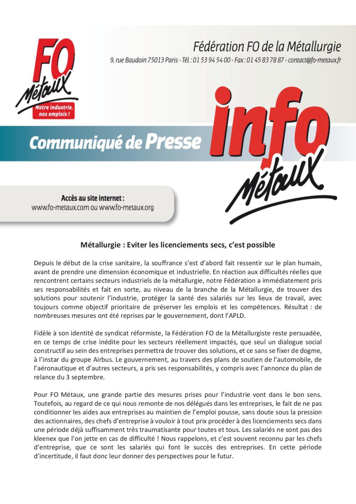 Comminiqué de presse - Fédération FO de la Métallurgie : Eviter les licenciements secs, c'est possible