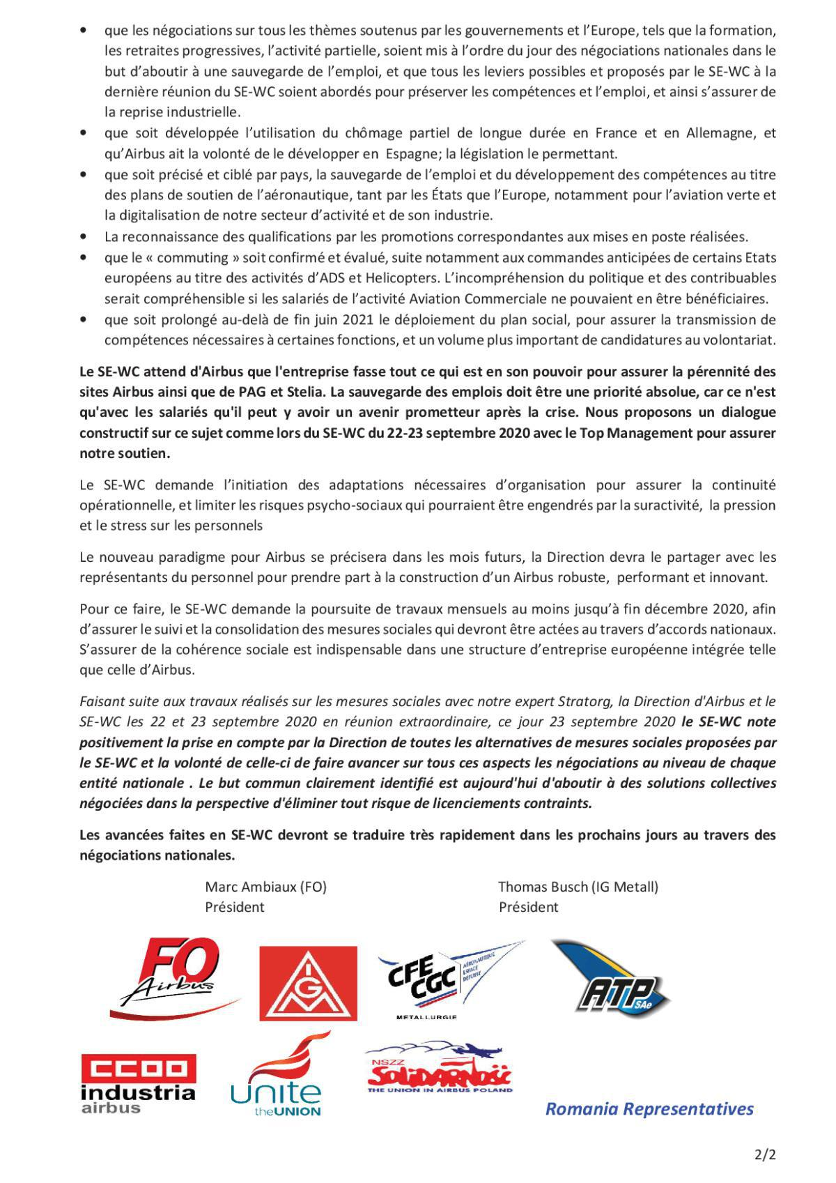 Déclaration du SE-WC des 22 et 23 septembre 2020 - Concernant l'information/consultation du Projet Odyssey