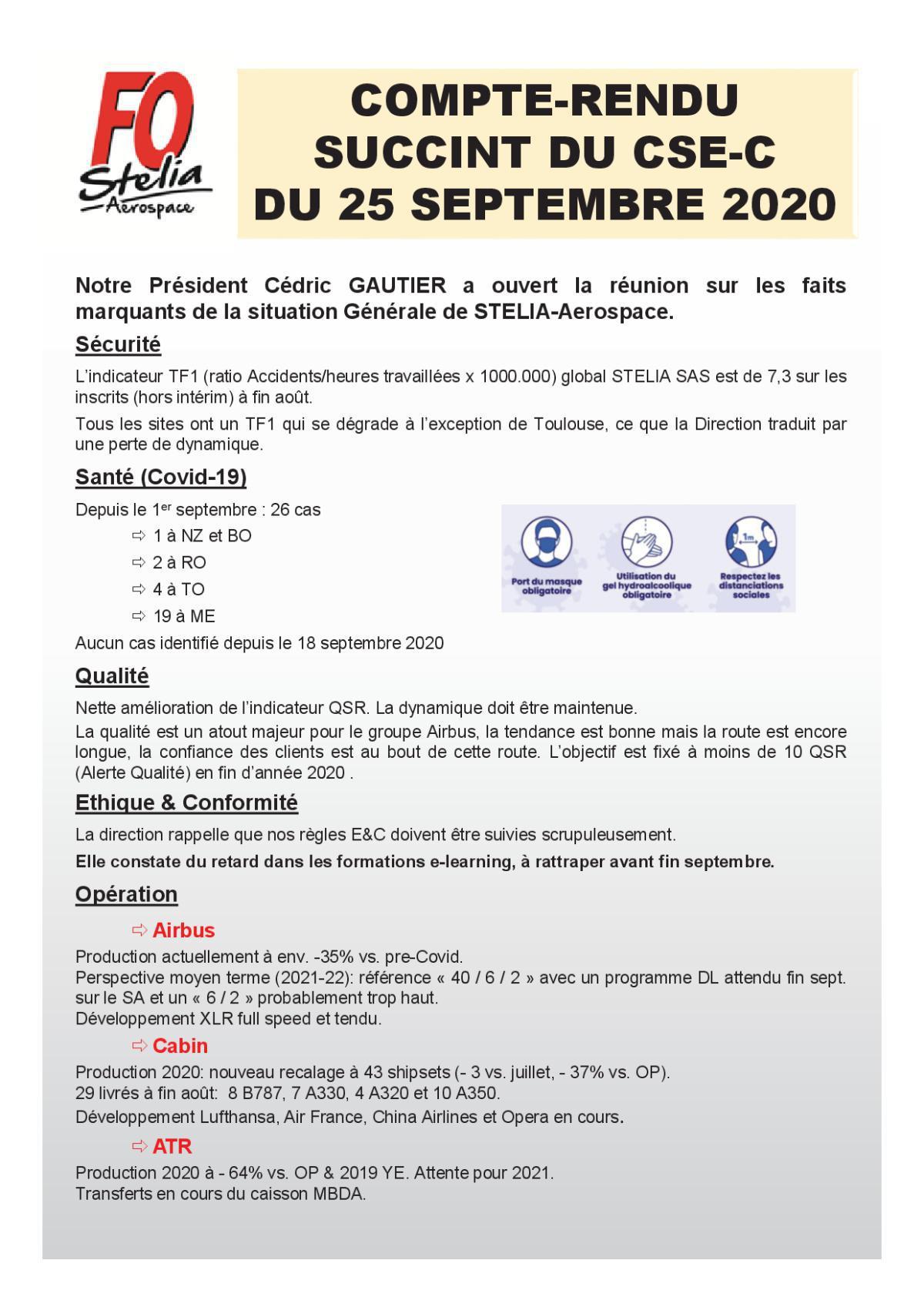 CR succinct CSE-C du 25 septembre 2020