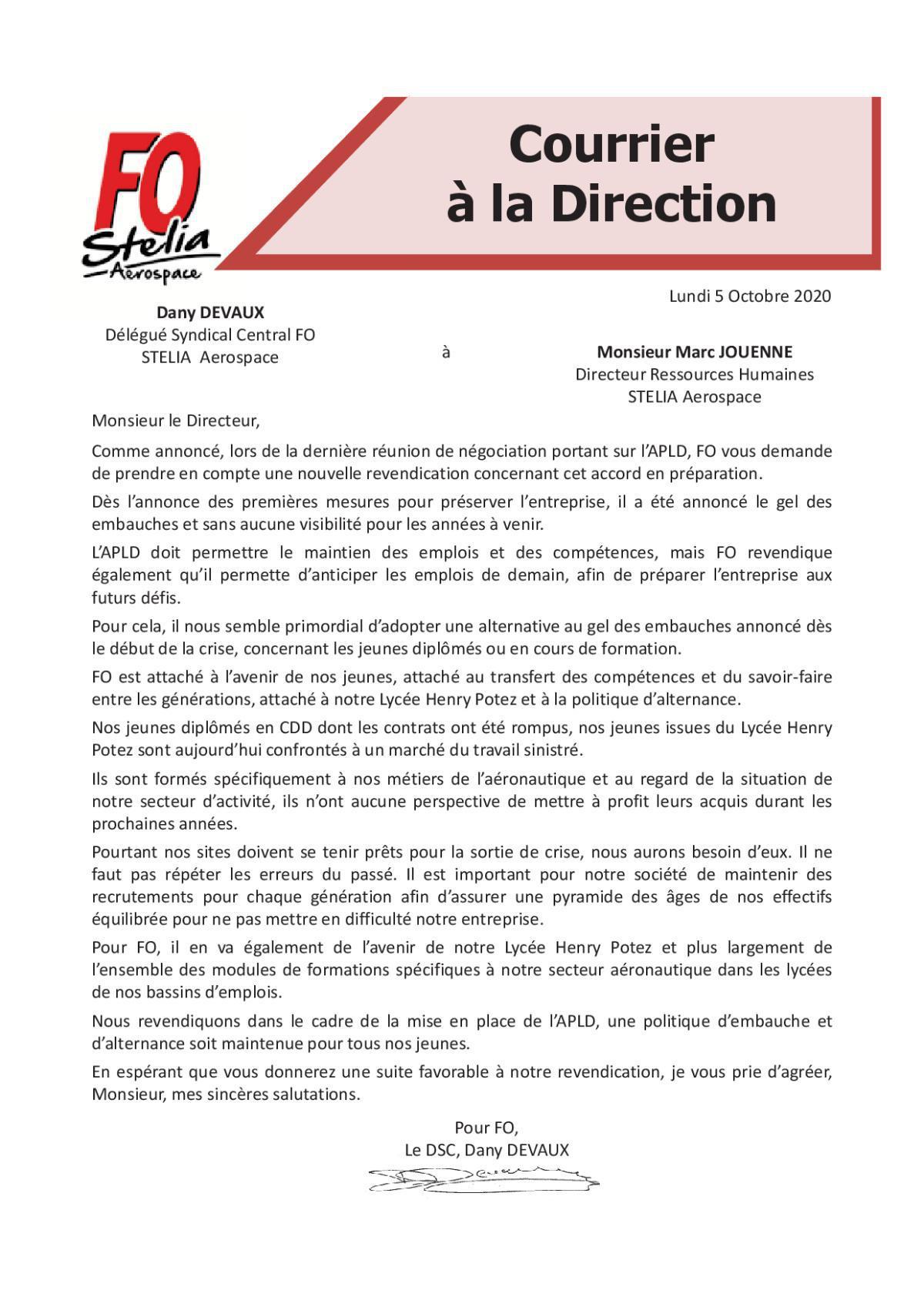 Courrier FO adressé à Monsieur Marc JOUENNE (Directeur Ressources Humaines) STELIA
