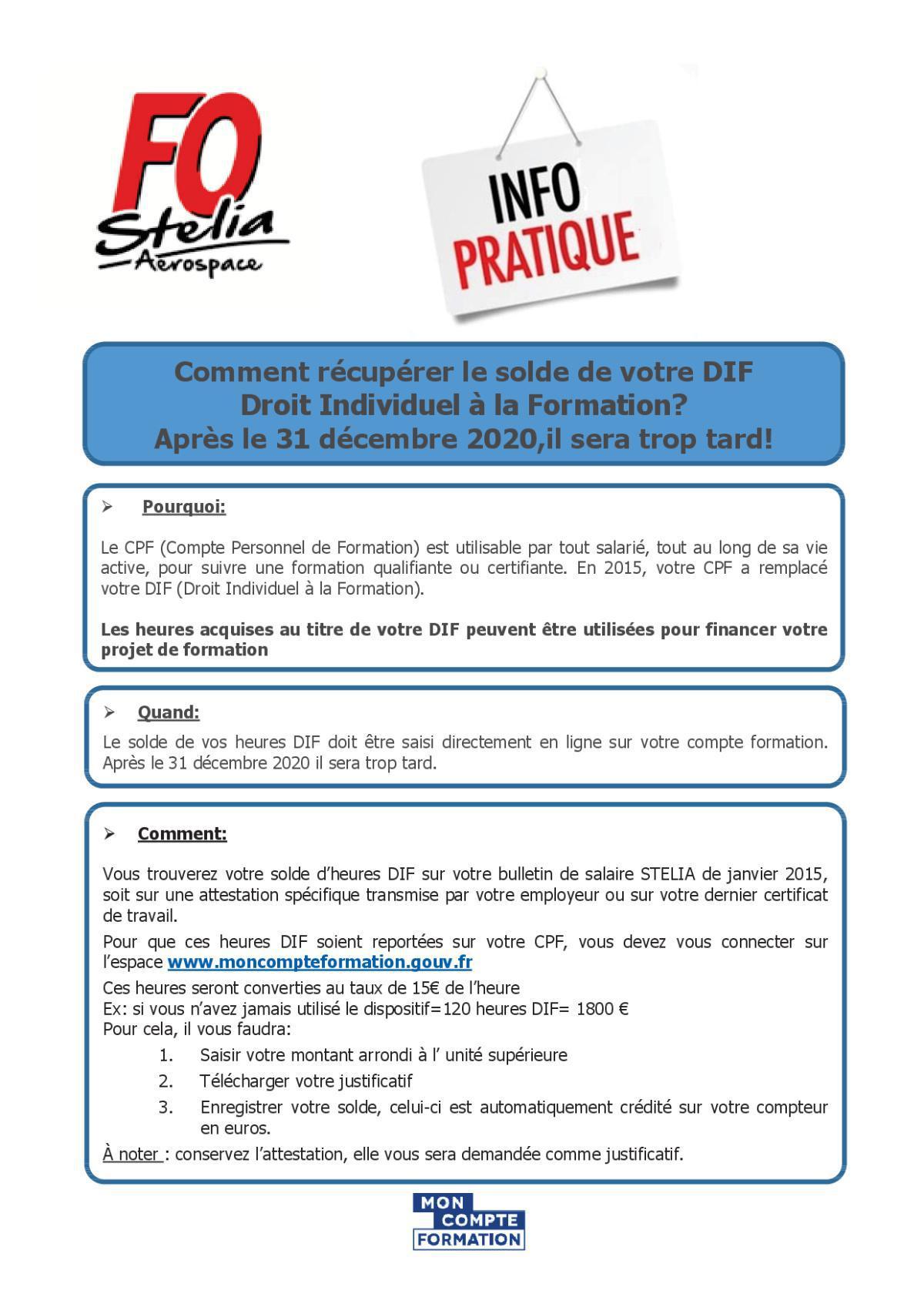 Info pratique - DIF (Devenu CPF)