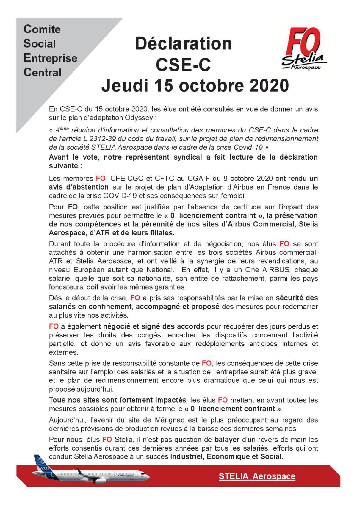 Déclaration FO au CSE-C du 15 octobre 2020