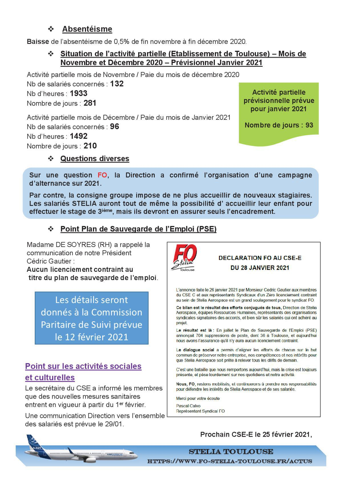 Compte rendu succinct CSE-E du 28 janvier 2021