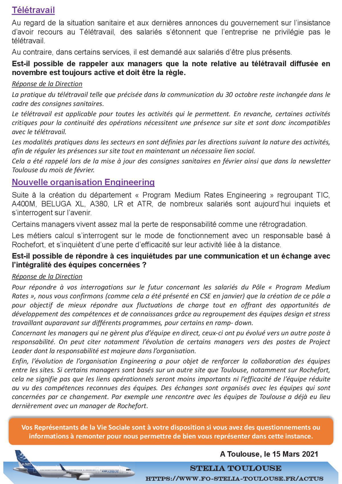 RVS – Informations Salariés – Réponse de la Direction
