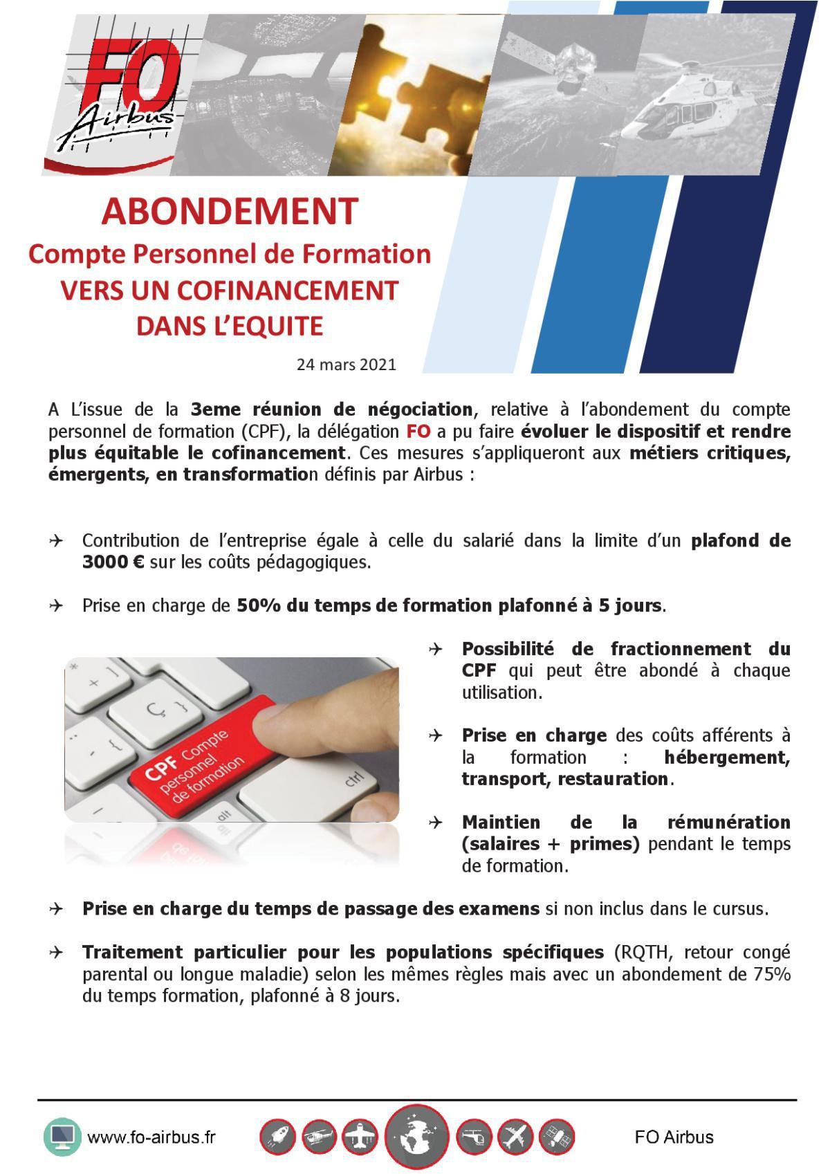 Compte Personnel de Formation (CPF) – 3ème Réunion - Abondement