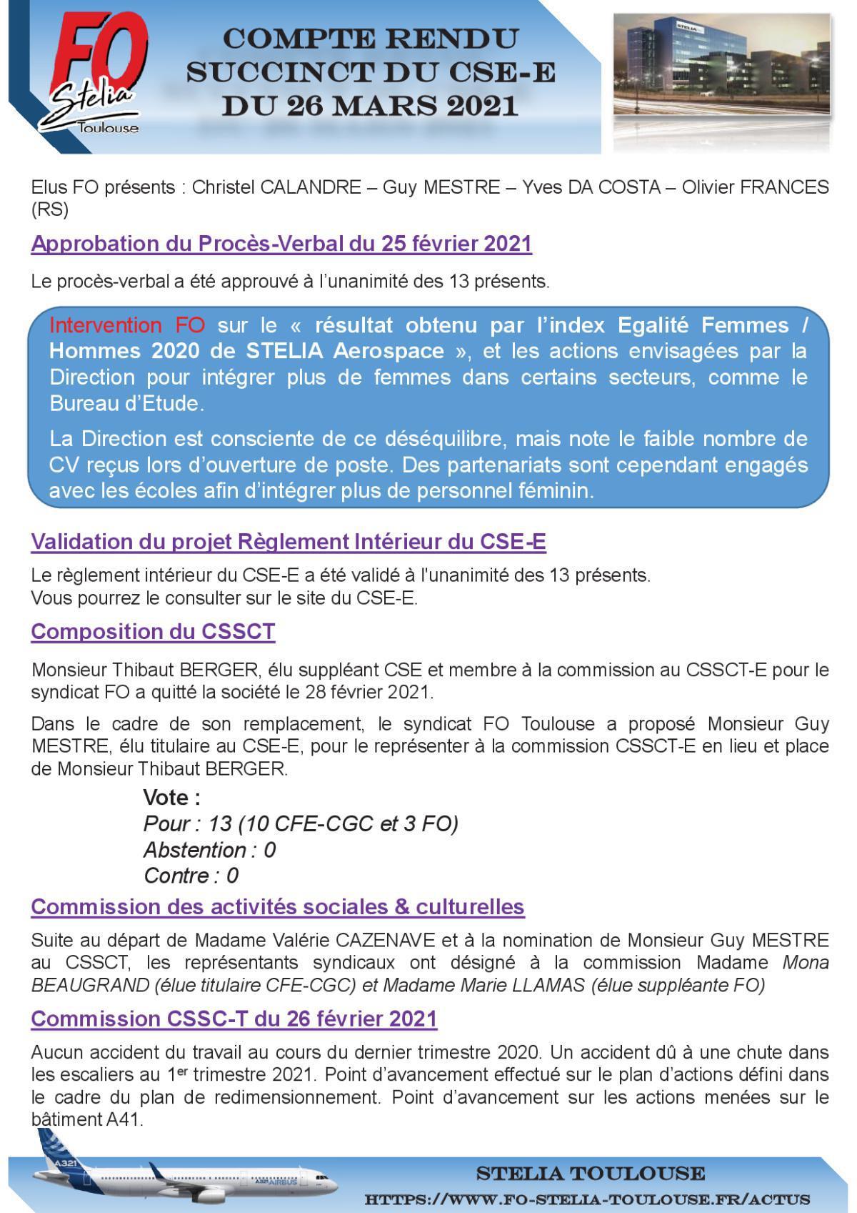Compte Rendu CSE-E du 26 Mars 2021