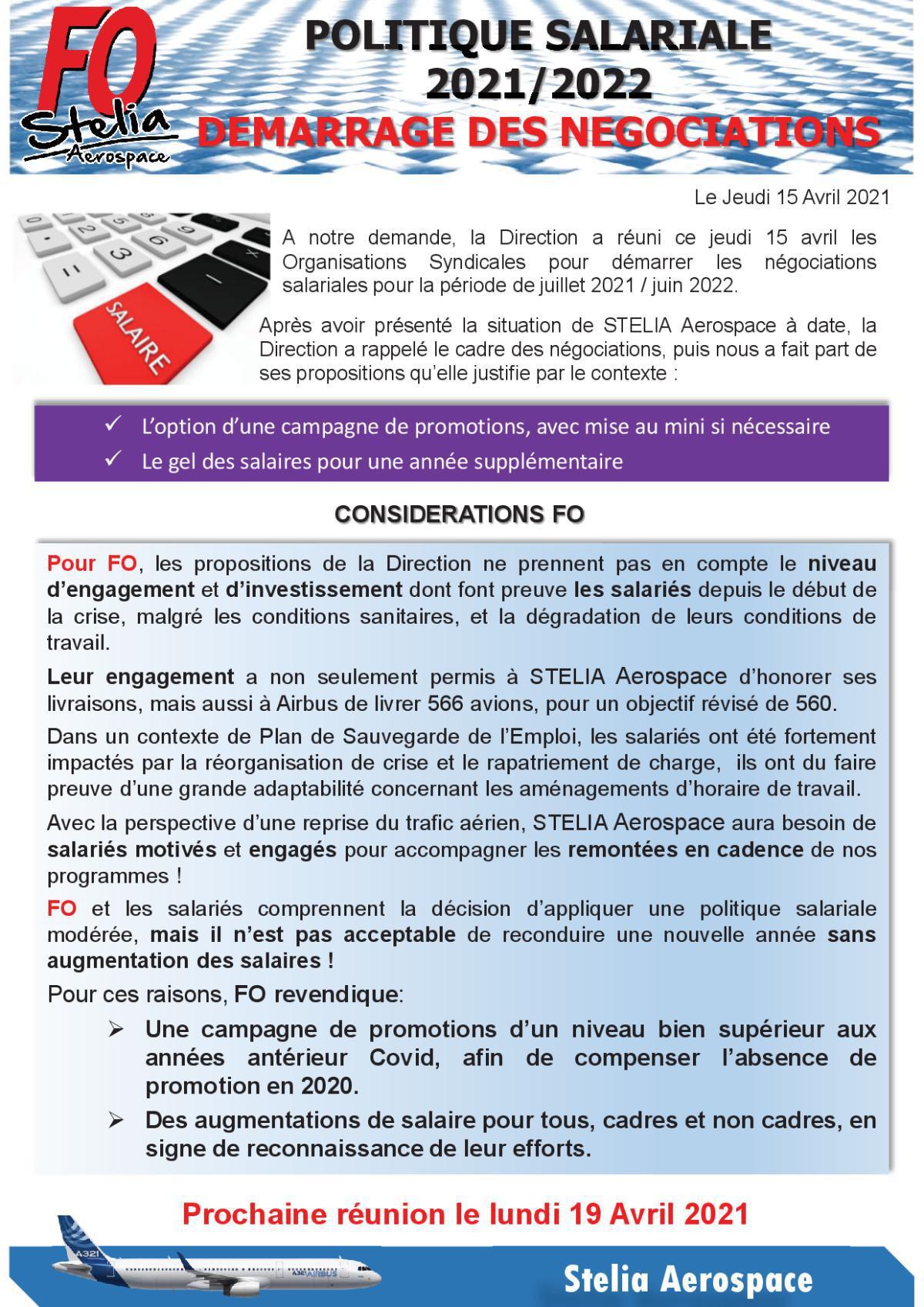 Politique salariale 2021-2022 - 1ère Réunion