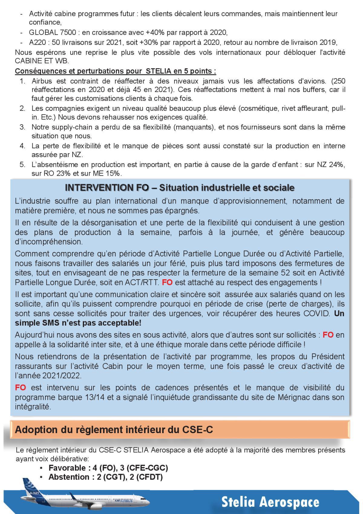 Compte Rendu succinct CSE-C du 14 avril 2021
